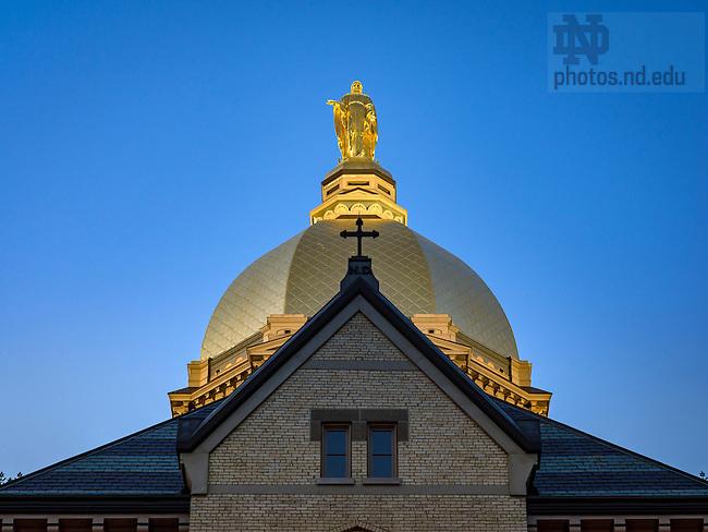 July 27, 2016; Dome at dusk (Photo by Matt Cashore/University of Notre Dame)