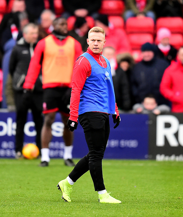 Lincoln City's Danny Rowe during the pre-match warm-up<br /> <br /> Photographer Andrew Vaughan/CameraSport<br /> <br /> The EFL Sky Bet League Two - Lincoln City v Grimsby Town - Saturday 19 January 2019 - Sincil Bank - Lincoln<br /> <br /> World Copyright © 2019 CameraSport. All rights reserved. 43 Linden Ave. Countesthorpe. Leicester. England. LE8 5PG - Tel: +44 (0) 116 277 4147 - admin@camerasport.com - www.camerasport.com