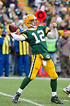 Green Bay Packers quarterback Aaron Rodgers (12) throws a pass during a Week 11 NFL football game against the Tampa Bay Buccaneers on November 20, 2011 in Green Bay, Wisconsin. The Packers won 35-26. (AP Photo/David Stluka)