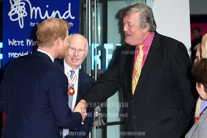 Prince Harry &amp; Stephen Fry at the Virgin Money Giving Mind Media Awards at the Odeon Leicester Square, London, UK. <br /> 13 November  2017<br /> Picture: Steve Vas/Featureflash/SilverHub 0208 004 5359 sales@silverhubmedia.com