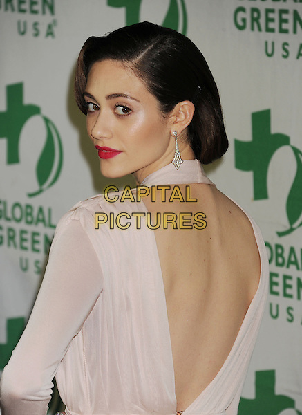 Emmy Rossum.10th Annual Global Green USA Pre-Oscar Party held at Avalon, Hollywood, California, USA..20th February 2013.half length dress  30s thirties red lipstick retro style peach nude cream white  back behind rear v backless looking over shoulder  dangling earrings.CAP/ROT/TM.©Tony Michaels/Roth Stock/Capital Pictures