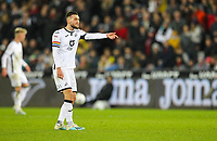 29th November 2019; Liberty Stadium, Swansea, Glamorgan, Wales; English Football League Championship, Swansea City versus Fulham; Matt Grimes of Swansea City gestures to his teammate - Strictly Editorial Use Only. No use with unauthorized audio, video, data, fixture lists, club/league logos or 'live' services. Online in-match use limited to 120 images, no video emulation. No use in betting, games or single club/league/player publications
