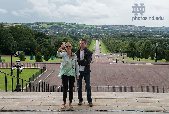 Aug 12, 2014; Students tour Parliament Building of Stormont Castle and meet with Minister Jonathan Bell. 82 Notre Dame students participated in the Summer 2014 Ireland Inside Track program.  The 8-day program involved cultural excursions, tours and travel between Dublin and the West of Ireland. Students learned about Ireland's rich culture, complex history and contemporary business such and Google and Twitter.  (Photo by Barbara Johnston/University of Notre Dame)