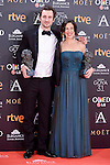 Raul Arevalo and Beatriz Bodegas pose to the media with the Goya award at Madrid Marriott Auditorium Hotel in Madrid, Spain. February 04, 2017. (ALTERPHOTOS/BorjaB.Hojas)
