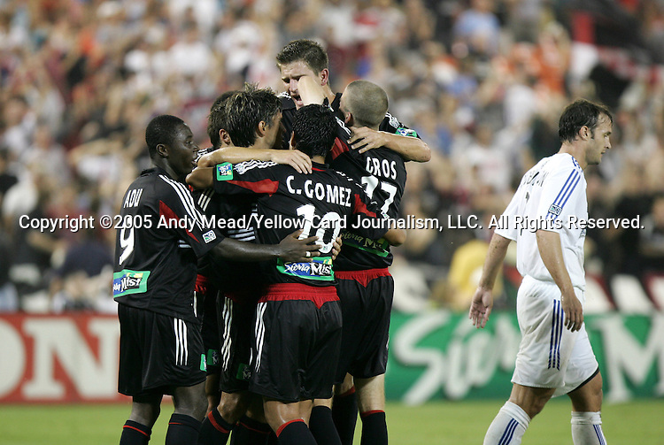 15 July 2005: Christian Gomez (10) celebrates his second goal of the game with teammates (from left) Freddy Adu, Dema Kovalenko, Jaime Moreno, Bobby Boswell, and Joshua Gros. DC United defeated the San Jose Earthquakes 3-0 at RFK Stadium in Washington, DC in a regular season Major League Soccer game.