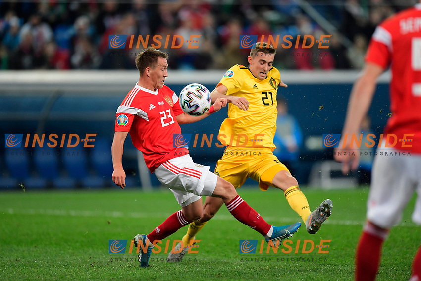 Timothy Castagne defender of Belgium, Sergei Petrov defender of Russia  <br /> Saint Petersbourg  - Qualification Euro 2020 - 16/11/2019 <br /> Russia - Belgium <br /> Foto Photonews/Panoramic/Insidefoto <br /> ITALY ONLY