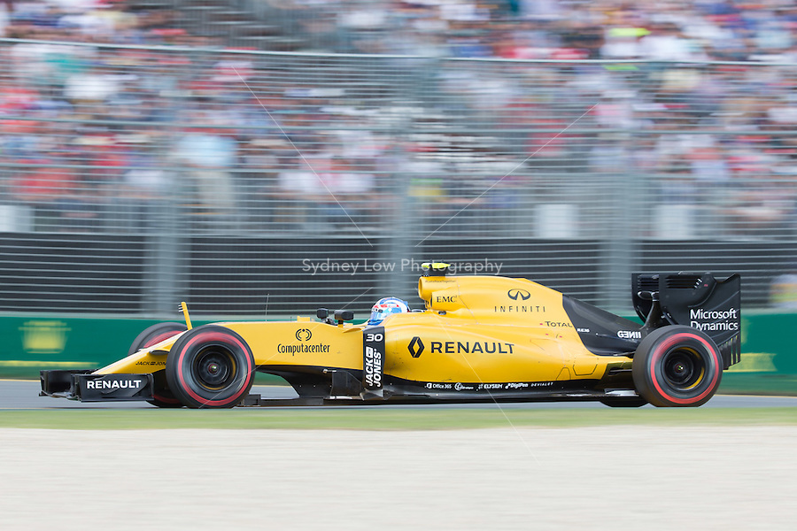 March 20, 2016: Jolyon Palmer (GBR) #30 from the Renault Sport F1 team at turn two of the 2016 Australian Formula One Grand Prix at Albert Park, Melbourne, Australia. Photo Sydney Low