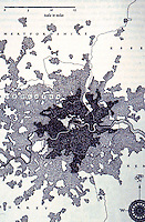London: Map--Growth of London to today, 1969. Christopher Hibbert, LONDON.  Reference only.