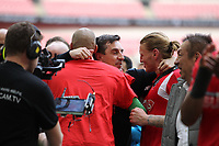 Post-match celebrations during the Vanarama National League Playoff Final between AFC Fylde & Salford City at Wembley Stadium, London, England on 11 May 2019. Photo by James  Gill.