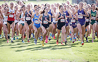 Stanford, CA - September 29, 2018: Start of the Women's race at the Stanford Cross Country Invitational held Saturday morning on the Stanford Golf course.