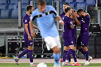 Franck Ribery of Fiorentina celebrates with team mates after scoring the goal of 0-1 during the Serie A football match between SS Lazio and ACF Fiorentina at stadio Olimpico in Roma ( Italy ), June 27th, 2020. Play resumes behind closed doors following the outbreak of the coronavirus disease. Photo Antonietta Baldassarre / Insidefoto