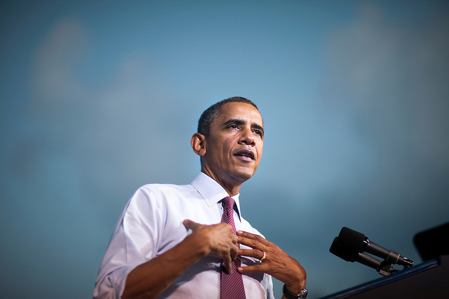 U.S. President Barack Obama speaks at a campaign event at Loudoun County High School in Leesburg, Virginia.
