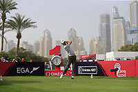 Renato Paratore (ITA) on the 1st tee during Round 1 of the Omega Dubai Desert Classic, Emirates Golf Club, Dubai,  United Arab Emirates. 24/01/2019<br /> Picture: Golffile | Thos Caffrey<br /> <br /> <br /> All photo usage must carry mandatory copyright credit (&copy; Golffile | Thos Caffrey)