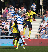 Blackburn Rovers' Joe Nuttall and Queens Park Rangers' Matt Smith<br /> <br /> Photographer Rob Newell/CameraSport<br /> <br /> The EFL Sky Bet Championship - Queens Park Rangers v Blackburn Rovers - Friday 19th April 2019 - Loftus Road - London<br /> <br /> World Copyright © 2019 CameraSport. All rights reserved. 43 Linden Ave. Countesthorpe. Leicester. England. LE8 5PG - Tel: +44 (0) 116 277 4147 - admin@camerasport.com - www.camerasport.com