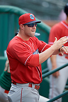 Lakewood BlueClaws hitting coach Tyler Henson (9) during a game against the Greensboro Grasshoppers on June 10, 2018 at First National Bank Field in Greensboro, North Carolina.  Lakewood defeated Greensboro 2-0.  (Mike Janes/Four Seam Images)