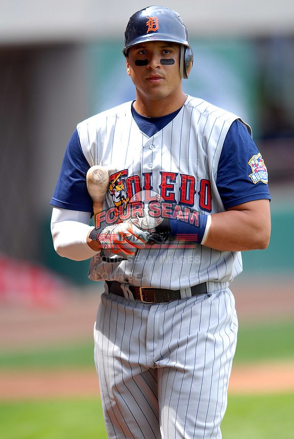 Detroit Tigers catcher Victor Martinez in a rehab appearance with the Toledo Mud Hens during a game versus the Pawtucket Red Sox on May 3, 2011 at McCoy Stadium in Pawtucket, Rhode Island. Photo by Ken Babbitt /Four Seam Images