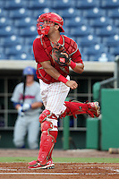 Clearwater Threshers catcher Sebastian Valle #9 throws to second during a game against the Daytona Cubs at Brighthouse Stadium on June 23, 2011 in Clearwater, Florida.  Clearwater defeated Daytona 6-5.  (Mike Janes/Four Seam Images)