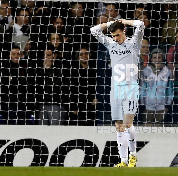 Tottenham's Gareth Bale looks on dejected after missing an open goal..Tottenham Hotspur  v  Lyon - Europa League Last 32 - White Hart Lane, London- 14/02/13 - Picture David Klein/Sportimage