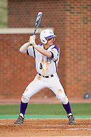 Chris Clare (9) of the High Point Panthers at bat against the Coastal Carolina Chanticleers at Willard Stadium on March 14, 2014 in High Point, North Carolina.  The Panthers defeated the Chanticleers 3-0.  (Brian Westerholt/Four Seam Images)