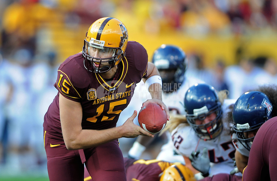 Nov. 28, 2009; Tempe, AZ, USA; Arizona State Sun Devils quarterback (15) Danny Sullivan against the Arizona Wildcats at Sun Devil Stadium. Arizona defeated Arizona State 20-17. Mandatory Credit: Mark J. Rebilas-