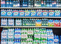 A display of imported from Poland bottled water outside of a grocery store in the Greenpoint neighborhood of Brooklyn in New York on Saturday, April 4, 2015. Despite the invasion hipsters and gentrification Greenpoint is still home to many Polish-Americans. (© Richard B. Levine)
