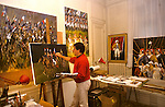 Guy Buffet painting in his Paris atelier for the commissioned body of work celebrating the Bicentennial of the French Revolution - 1989