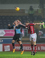 Garry Thompson of Wycombe Wanderers fights for the ball during the Sky Bet League 2 match between Wycombe Wanderers and Morecambe at Adams Park, High Wycombe, England on 2 January 2016. Photo by Andy Rowland / PRiME Media Images