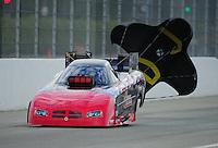 Nov. 11, 2011; Pomona, CA, USA; NHRA funny car driver Gary Densham during qualifying at the Auto Club Finals at Auto Club Raceway at Pomona. Mandatory Credit: Mark J. Rebilas-.