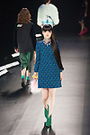 A model walks on the runway during the Keita Maruyama 2016 Autumn Winter collection show as part of Mercedes Benz Fashion Week Tokyo 2016 A/W in Shibuya Hikarie building on March 14, 2016, Tokyo, Japan. (Photo by Michael Steinebach/AFLO)