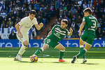 Real Madrid's player Alvaro Morata and Leganes's  player Unai Lopez and Unai Bustinza during a match of La Liga at Santiago Bernabeu Stadium in Madrid. November 06, Spain. 2016. (ALTERPHOTOS/BorjaB.Hojas)