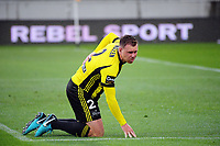 Daniel Mullen gets up after hurting his back during the A-League football match between Wellington Phoenix and Melbourne Victory at Westpac Stadium in Wellington, New Zealand on Friday, 10 January 2018. Photo: Dave Lintott / lintottphoto.co.nz
