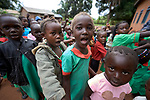 Students sing as they gather in the morning at the Catholic Church-sponsored Abangite Nursery School in Yambio, South Sudan.