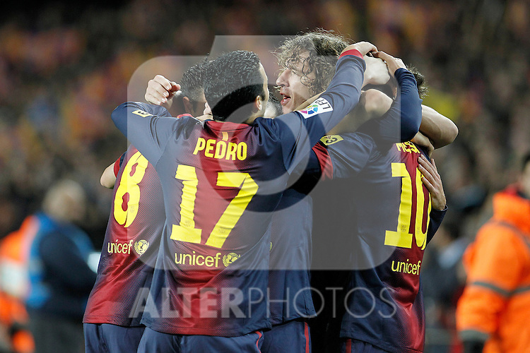 FC Barcelona's players celebrate goal during La Liga match.December 16,2012. (ALTERPHOTOS/Acero)