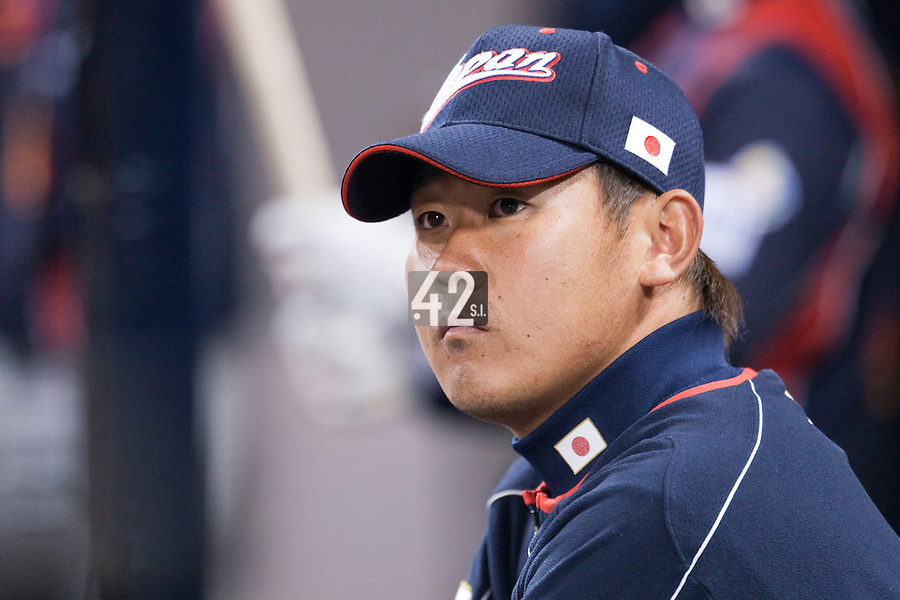 17 March 2009: #18 Daisuke Matsuzaka of Japan is seen in the dugout during the 2009 World Baseball Classic Pool 1 game 4 at Petco Park in San Diego, California, USA. Korea wins 4-1 over Japan.