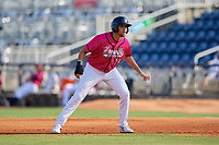 Pensacola Blue Wahoos Alex Kirilloff (19) leads off first base during a Southern League game against the Mobile BayBears on July 25, 2019 at Hank Aaron Stadium in Pensacola, Florida.  Pensacola defeated Mobile 2-1 in the first game of a doubleheader.  (Mike Janes/Four Seam Images)