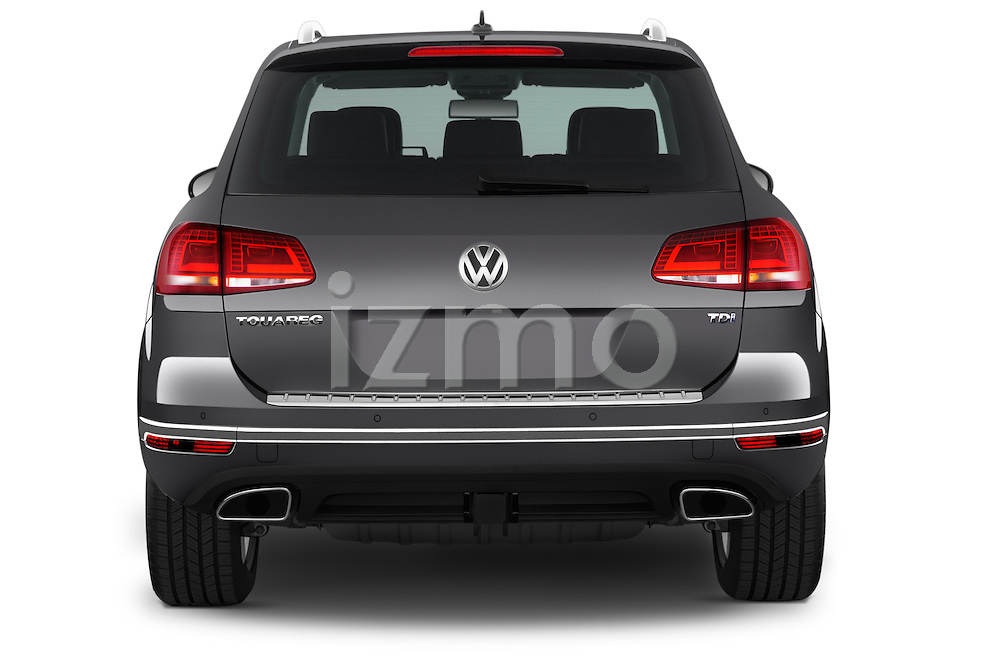 Straight rear view of 2017 Volkswagen Touareg Executive 5 Door SUV Rear View  stock images