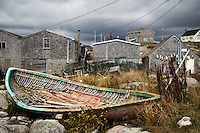 This old dory in Peggy's Cove has earned a well deserved placed--prominently drydocked at the entrance to this beautiful Nova Scotia fishing village.