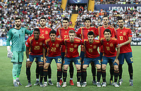 Spain's players pose before the start of the Uefa Under 21 Championship 2019 football final match between Spain and Germany at Udine's Friuli stadium, Italy, June 30, 2019. Spain won 2-1. Front row, from left, Junior Firpo, Pablo Fornals, Dani Olmo, Martin Aguirregabiria, Mikel Oyarzabal; back row, from left, Antonio Sivera, Unai Nunez, Marc Roca, Jesus Vallejo, Fabian Ruiz and Dani Ceballos.<br /> UPDATE IMAGES PRESS/Isabella Bonotto