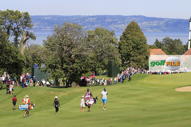 Lydia Ko (NZL), Lexi Thompson (USA) and Mi Hyang Lee (KOR) walk to the 13th green during Sunday's Final Round of the LPGA 2015 Evian Championship, held at the Evian Resort Golf Club, Evian les Bains, France. 13th September 2015.<br /> Picture Eoin Clarke | Golffile