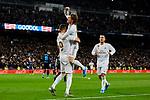 Karim Benzema (L) and Luka Modric (R) of Real Madrid celebrate goal during La Liga match between Real Madrid and Real Sociedad at Santiago Bernabeu Stadium in Madrid, Spain. November 23, 2019. (ALTERPHOTOS/A. Perez Meca)