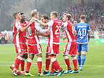 01.12.2018, Stadion an der Wuhlheide, Berlin, GER, 2.FBL, 1.FC UNION BERLIN  VS.SV Darmstadt 98, <br /> DFL  regulations prohibit any use of photographs as image sequences and/or quasi-video<br /> im Bild 1:0 durch Sebastian Andersson (1.FC Union Berlin #10),Felix Kroos (1.FC Union Berlin #23), Joshua Mees (1.FC Union Berlin #8), Grischa Proemel (1.FC Union Berlin #21)<br /> Tim Rieder (Darmstadt #40)<br /> <br />      <br /> Foto &copy; nordphoto / Engler
