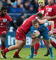 12th January 2020; RDS Arena, Dublin, Leinster, Ireland; Heineken Champions Champions Cup Rugby, Leinster versus Lyon Olympique Universitaire; Garry Ringrose (Leinster) attempts to drive through the tackle from Badri Alkhazashvili (Lyon)  - Editorial Use