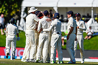 England celebrates the wicket of  BJ Watling of the Black Caps during the final day of the Second International Cricket Test match, New Zealand V England, Hagley Oval, Christchurch, New Zealand, 3rd April 2018.Copyright photo: John Davidson / www.photosport.nz