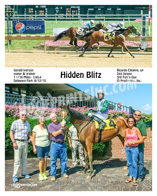 Hidden Blitz winning at Delaware Park on 8/12/15