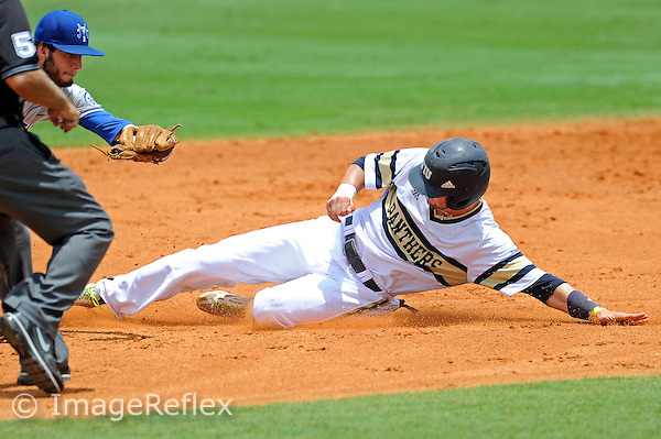 11 May 2014:  FIU outfielder Zach Sweety (4) slides into second base as the FIU Golden Panthers defeated the Middle Tennessee State University Blue Raiders, 6-4, at University Park Stadium in Miami, Florida.