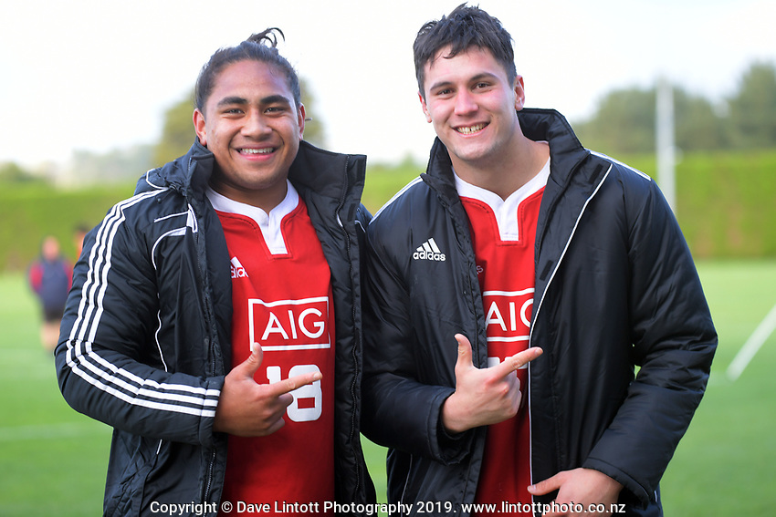 Monu Moli (left) and Leandro Vakatini (NZ Schools Barbarians). Game Of Three Halves NZ Schools pre-season rugby match at the Sport & Rugby Institute in Palmerston North, New Zealand on Thursday, 26 September 2019. Photo: Dave Lintott / lintottphoto.co.nz