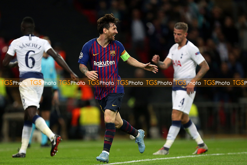 Lionel Messi of FC Barcelona celebrates scoring the fourth goal during Tottenham Hotspur vs FC Barcelona, UEFA Champions League Football at Wembley Stadium on 3rd October 2018
