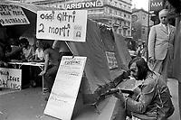 """- hunger strike of the association """"Group Abel"""" against the drug (Milan, 1975)....- sciopero della fame dell'associazione """"Gruppo Abele"""" contro la droga  (Milano, 1975)"""