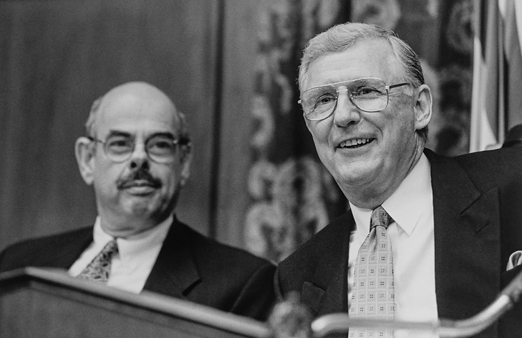House Oversight and Government Reform Committee Chairman Rep. Dan Burton, R-Ind., with Ranking Chairman Rep. Henry Waxman, D- Calif., in May 1998. (Photo by Shana Raab/CQ Roll Call via Getty Images)
