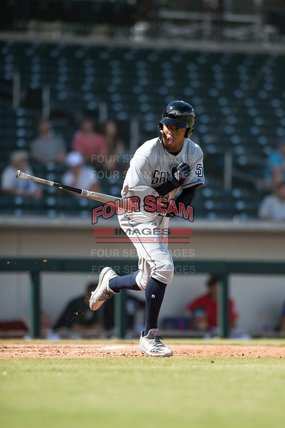 Peoria Javelinas left fielder Buddy Reed (85), of the San Diego Padres organization, tosses his bat after drawing a walk during an Arizona Fall League game against the Mesa Solar Sox at Sloan Park on October 11, 2018 in Mesa, Arizona. Mesa defeated Peoria 10-9. (Zachary Lucy/Four Seam Images)